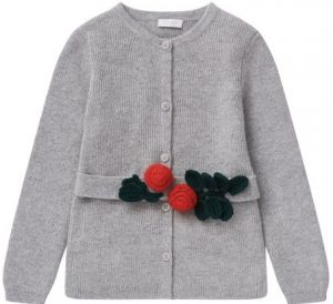 Il Gufo Girls Grey Wool Cardigan With Crochet Belt