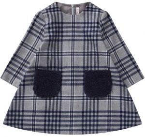 Il Gufo Girls Grey & Blue Check Dress