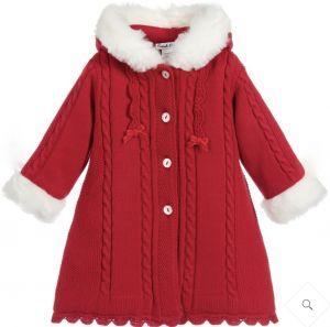 Sarah Louise Girls Red Knitted Fur Trim Coat