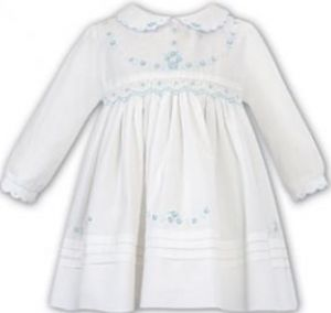 Sarah Louise Girls Ivory and Mint Hand-Smocked Dress