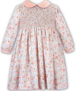 Sarah Louise Girls Peach Floral Velvet Collared Dress