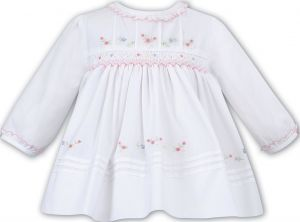 Sarah Louise Girls White with Floral Embroidered Hand Smocked Dress