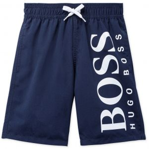 BOSS Kidswear Navy Blue White Logo Swim Shorts