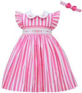 Pretty Originals Deep Pink & White Smocked Dress Set