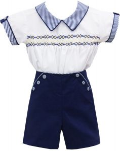 Pretty Originals White, Blue and Yellow Cotton Smocked Suit