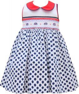 Pretty Originals Blue & White Spot Smocked Dress Set