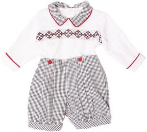 Pretty Originals White, Black and Red Gingham Hand-Smocked Shorts Set