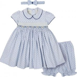 Pretty Originals Pale Blue and Navy Hand Smocked PatterDress