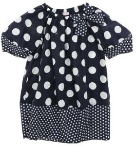Il Gufo Girls Navy and White Large Polka Dot Dress