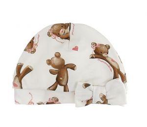 Monnalisa Ivory Pink Teddy Bear Baby Hat