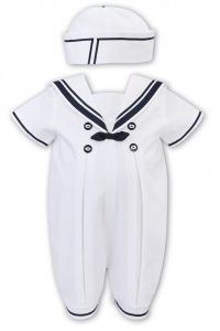 Sarah Louise White and Navy Blue Sailor Suit Shortie Set