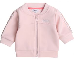 BOSS Baby Girls Pink Taped Zip-Up Top