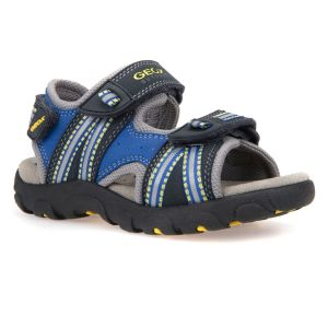 Geox Boy's Strada Navy and Yellow Sandal