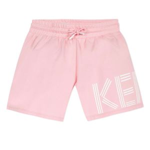 Kenzo Kids Pink Logo Cotton Jersey Shorts