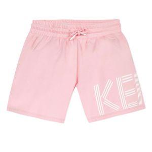Kenzo Kids Pink Logo Cotton Jersey Shorts