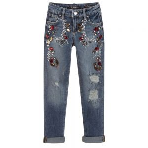 GUESS Girls Blue Diamanté Jeans