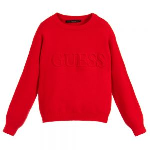 GUESS Girl's Red Embossed Logo Sweater