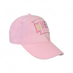 Guess Girls Pink Cotton Diamanté Logo Cap