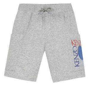 Kenzo Kids Grey & Blue Cotton Logo Shorts