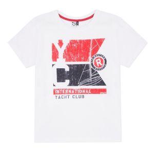 3Pommes Boys White Cotton Yacht Club T-Shirt