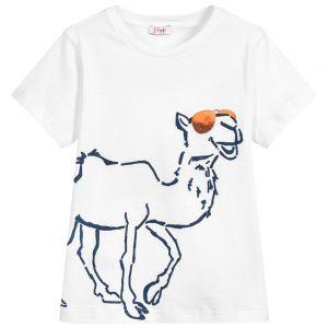 IL Gufo Boy's White Cotton Camel T-Shirt