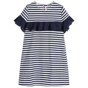 IL Gufo Girl's Navy and White Striped Dress