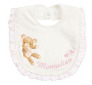 Monnalisa Ivory & Pink Teddy Bear Bib