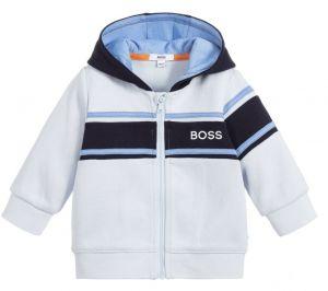 BOSS Kidswear Pale Blue Hooded Logo Zip-Up Top