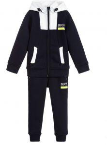 BOSS Kidswear Navy Blue & White Branded Logo Tracksuit
