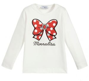 Monnalisa Teen Girls Ivory Logo Bow Top