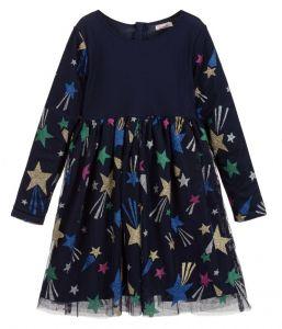 Billieblush Blue Glitter Star Tulle Dress