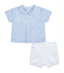 Paz Rodriguez Baby Boy's Blue Top and White Shorts Set