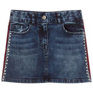 Monnalisa Chic Girls Blue Denim Crystal and Pearl Trim Skirt
