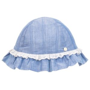 Lili Gaufrette Girls Blue Cotton Sun Hat