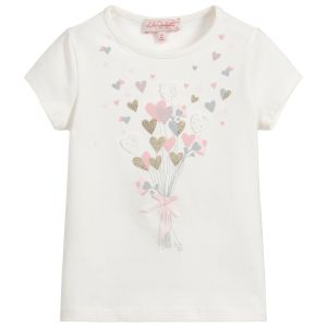 Lili Gaufrette Ivory Cotton Hearts T-Shirt