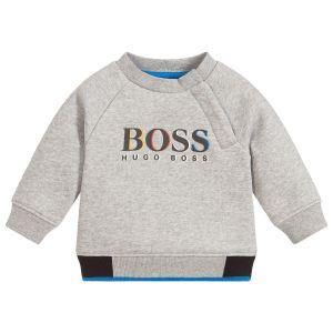 BOSS Toddler Boys Grey Cotton Sweatshirt