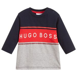 BOSS Boys Navy, Red and Grey Cotton Top