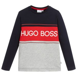 BOSS Older Boys Navy, Red and Grey Cotton Top