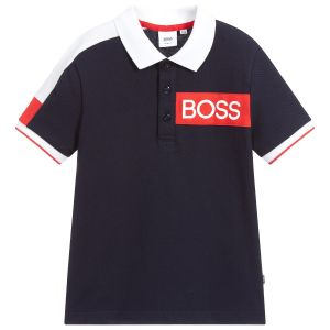 BOSS Navy, Red and White Cotton Logo Polo Shirt