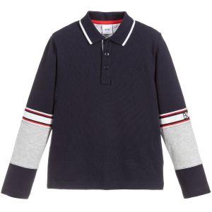 BOSS Boys Navy, Grey and Red Cotton Piqué Polo Shirt