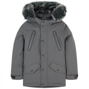 BOSS Boys Grey Padded Parka Coat