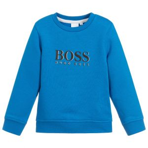 BOSS Boys Cobalt Blue Logo Sweatshirt