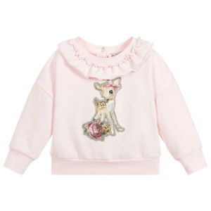 Monnalisa Girls Pink Cotton Deer Sweatshirt
