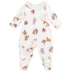 Monnalisa Girls Ivory Cotton Woodland Animals Babygrow