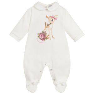 Monnalisa Girls Ivory Cotton Baby Deer Babygrow
