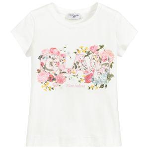 Monnalisa Girls Ivory Cotton Glam T-Shirt