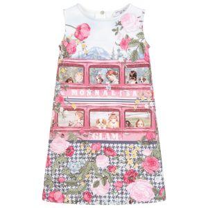 Monnalisa Pink Sleeveless Viscose Glam Dress