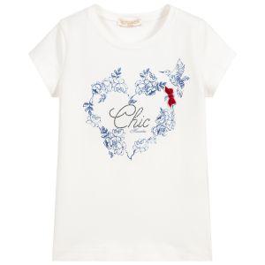 Monnalisa Chic Ivory & Blue Cotton T-Shirt
