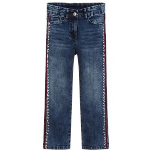 Monnalisa Chic Girls Blue Cotton Denim Crystal and Pearl  Jeans