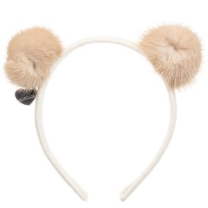 Monnalisa Cream Fur Pom-Pom Hairband